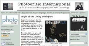 A. D. Coleman, Photocritic International, 7/31/11, screenshot.