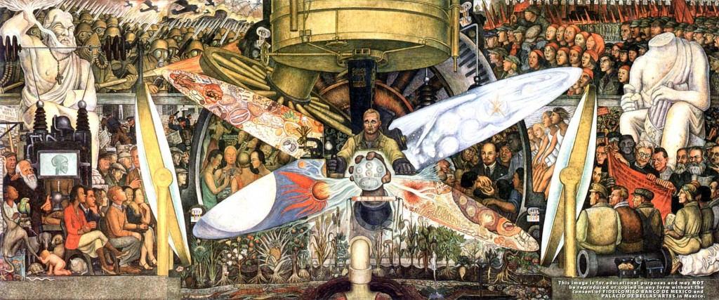 The mural painted by Diego Rivera Man at the Crossroads was repainted and renamed as Man, Controller of the Universe at the Palacio de Bellas Artes in Mexico City.