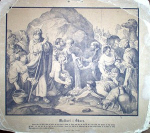 Figure 2. Moses striking water from the rock, school illustration, ca 1880.