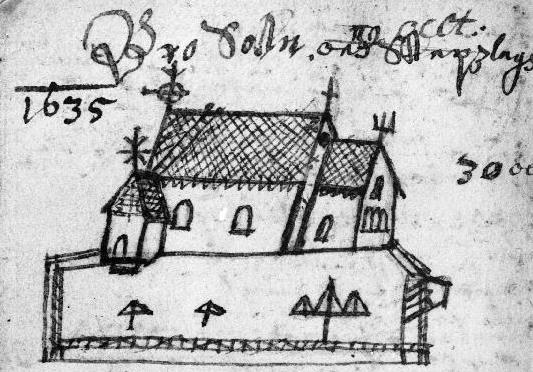 Figure 5. Roslags-Bro church. Drawing by J. H. Rhezelius, 1635.