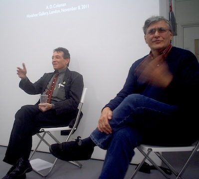 A. D. Coleman (l) and Roberto Muffoletto (r), Hotshoe Gallery, London, November 8, 2011. Photo © copyright 2011 by Anna Lung.