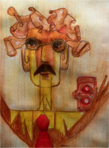 """""""W.Benjamin as Klee's angel of history with camera"""" © Ione Manzali, 2016"""